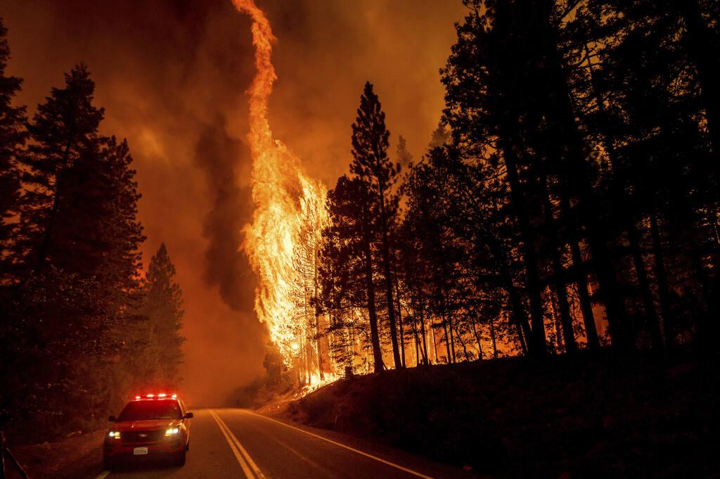 Fire burns through town